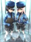 1girl bangs belt black_gloves black_hair black_neckwear black_shorts blue_eyes blue_hat blue_shirt caroline_(persona_5) clipboard commentary commentary_request cosplay couple darling_in_the_franxx eyepatch gloves gold_trim green_eyes hand_on_hip hat herozu_(xxhrd) hetero highres hiro_(darling_in_the_franxx) holding holding_clipboard holding_weapon justine_(persona_5) long_hair looking_at_viewer necktie peaked_cap persona persona_5 pink_hair police police_hat police_uniform shirt shoes short_hair shorts sleeves_past_wrists socks uniform weapon white_legwear zero_two_(darling_in_the_franxx)