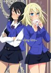 2girls andou_(girls_und_panzer) back-to-back bangs bc_freedom_school_uniform black_hair black_skirt black_vest blonde_hair blue_eyes blue_neckwear blue_sweater blush brown_eyes cardigan chikomayo closed_mouth comic commentary_request cover cover_page cowboy_shot crossed_arms dark_skin diagonal_stripes dress_shirt english eyebrows_visible_through_hair girls_und_panzer heart holding holding_letter letter long_sleeves looking_at_viewer love_letter medium_hair messy_hair miniskirt multiple_girls necktie oshida_(girls_und_panzer) pleated_skirt red_neckwear school_uniform shirt skirt standing striped striped_neckwear sweater sweater_around_neck vest white_shirt wing_collar yuri