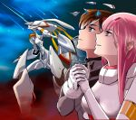 1boy 1girl albyee bangs black_bodysuit black_hair blue_eyes blue_horns bodysuit breasts broken_horn cloud cloudy_sky commentary couple darling_in_the_franxx english_commentary gloves green_eyes hand_holding hetero highres hiro_(darling_in_the_franxx) horns long_hair mecha medium_breasts night night_sky oni_horns pilot_suit pink_hair red_horns short_hair sky strelizia strelizia_apus white_bodysuit white_gloves zero_two_(darling_in_the_franxx)