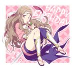1girl armor blue_legwear brown_eyes brown_hair dango dated feet fire_emblem fire_emblem_if food full_body hand_on_own_knee happy_birthday headband hiyori_(rindou66) japanese_armor japanese_clothes kazahana_(fire_emblem_if) kimono knees_together_feet_apart long_hair looking_at_viewer obi patterned_background sandals sash shin_guards short_kimono side_locks single_thighhigh solo thighhighs toes wagashi