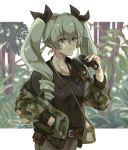 1girl alpachiiino anchovy bag bangs belt_pouch binoculars black_ribbon black_shirt brown_belt brown_pants camouflage_jacket carrying closed_mouth commentary dappled_sunlight day drill_hair eyebrows_visible_through_hair girls_und_panzer green_hair hair_ribbon hand_in_pocket holding holding_binoculars jacket letterboxed long_hair long_sleeves open_clothes open_jacket outdoors pants pouch red_eyes ribbon satchel shirt smile solo standing sunlight twin_drills twintails upper_body