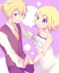 1boy 1girl adolescence_(vocaloid) aoi_choko_(aoichoco) bare_arms bare_shoulders blonde_hair brother_and_sister camisole close-up collarbone dancing eye_contact flat_chest flower hair_ornament hairclip halterneck hand_holding highres interlocked_fingers kagamine_len kagamine_rin looking_at_another necktie open_mouth polka_dot polka_dot_background shirt short_hair short_ponytail siblings sleeveless_blazer smile spaghetti_strap twins upper_body vocaloid white_camisole yellow_neckwear