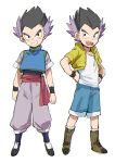 1boy :d alternate_costume arms_at_sides bidarian black_eyes black_hair boots chinese_clothes cosplay dragon_ball dragon_ball_super dragonball_z frown full_body gotenks hand_on_hip highres jacket male_focus multicolored_hair open_mouth purple_hair shirt short_hair shorts simple_background smile socks son_goten son_goten_(cosplay) spiked_hair teeth trunks_(dragon_ball) trunks_(dragon_ball)_(cosplay) two-tone_hair white_background white_legwear white_shirt wristband yellow_jacket