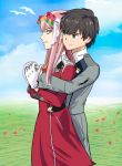 1boy 1girl albyee bangs black_hair blue_eyes blue_horns commentary couple darling_in_the_franxx english_commentary eyebrows_visible_through_hair flower gloves green_eyes hair_flower hair_ornament hairband hand_holding hetero highres hiro_(darling_in_the_franxx) horns long_hair long_sleeves looking_back military military_uniform necktie oni_horns orange_neckwear pink_hair red_horns short_hair uniform white_gloves white_hairband zero_two_(darling_in_the_franxx)