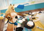 2018 amber_ladoe_(sabre_dacloud) anthro areola big_breasts blonde_hair blurred_background bra_lift breast_grab breasts canine cervine clothed clothing dildo discarded_clothing female female/female fox hair hand_on_breast hitachi_magic_wand hybrid lying mammal nightargen nipples nude on_back one_eye_closed open_mouth orgasm panties panties_aside penetration pussy reindeer ruby_(nlorier) sex sex_toy skirt spread_legs spreading standing strapon table_lotus_position topless underwear underwear_aside vaginal vaginal_penetration vibrator