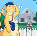 2007 blue_eyes building detailed_background dragonite duo headwear house kame_nu008 membranous_wings nintendo outside pokémon pokémon_(species) poochyena postman standing video_games wings