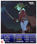 1girl artist_name bare_shoulders between_legs blue_eyes boots border breasts cape character_name clenched_teeth cloud earrings english_text female final_fantasy final_fantasy_vi floral_print flower gameplay_mechanics hair_flower hair_ornament half-closed_eye hand_between_legs have_to_pee health_bar holding holding_sword holding_weapon jewelry knees_together_feet_apart leg_lift leggings long_sleeves motion_blur motion_lines night night_sky one_eye_closed outdoors patreon_logo patreon_username phinci pink_flower ponytail purple_legwear red_footwear red_shirt shirt signature sky small_breasts solo standing star_(sky) starry_sky sweat sword teeth tied_hair tina_branford trembling watermark weapon web_address white_border