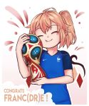 1girl 2018_fifa_world_cup :t ^_^ ahoge alternate_costume blonde_hair blue_shirt closed_eyes commentary congratulations contemporary english_commentary eyebrows_visible_through_hair eyes_closed flandre_scarlet gradient gradient_background head_tilt highres holding jersey nail_polish nike object_hug outline pink_background red_nails shirt short_hair short_sleeves side_ponytail smile solo touhou trophy upper_body white_background white_outline wings world_cup yoruny