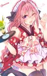 1boy astolfo_(fate) black_legwear blush braid drink fang fate/apocrypha fate_(series) garter_straps hair_ribbon highres japanese_clothes long_hair looking_at_viewer male_focus one_eye_closed open_mouth pink_hair purple_eyes ribbon shisei_(kyuushoku_banchou) simple_background single_braid smile solo thighhighs trap twitter_username white_background