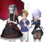 1girl 2boys bangs black_bow black_jacket blue_eyes blue_gloves blue_hair blue_neckwear blue_shirt bow bowtie brown_dress brown_hair brown_shorts clenched_teeth closed_mouth collarbone collared_shirt double-breasted dress dress_shirt eyebrows_visible_through_hair food frilled_dress frilled_umbrella frills gloves gothic_lolita green_eyes grey_hair hair_bow hair_ornament hair_over_one_eye hairclip hand_up highres holding holding_food holding_umbrella jacket lavender_hair legs_apart lineup lolita_fashion long_hair looking_at_viewer looking_away low_ponytail multicolored_hair multiple_boys ohisashiburi original pale_skin parasol parted_bangs purple_eyes red_bow red_neckwear shirt shirt_pull short_sleeves shorts sidelocks simple_background speech_bubble split_ponytail standing sweat talking teeth trap tsurime two-tone_hair umbrella white_background white_shirt white_shorts