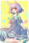 1girl :d animal_ears commentary_request dress flat_chest grey_dress grey_hair high_heels jewelry looking_at_viewer mokokiyo_(asaddr) mouse_ears mouse_tail nazrin open_mouth pendant red_eyes skirt_hold smile solo tail touhou yellow_background