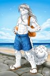 2011 anthro avian backpack ball beach beach_ball bird clothed clothing feline kazat leopard looking_at_viewer male mammal muscular muscular_male seagull seaside snow_leopard solo topless