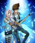 1boy 1girl :d black_jacket black_pants black_shorts bracelet brown_hair detached_sleeves eyes_closed fingerless_gloves floating_hair glasses gloves green_eyes guitar head_tilt holding holding_instrument instrument jacket jewelry kutsuno long_hair macross macross_7 mylene_jenius necklace nekki_basara open_clothes open_jacket open_mouth pants pink_hair print_shirt red_gloves round_eyewear shirt short_shorts shorts sleeveless sleeveless_shirt smile spiked_hair standing star star_print striped striped_legwear thighhighs very_long_hair white_shirt zettai_ryouiki