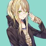 1girl aihara_yuzu artist_name black_jacket blonde_hair brown_shirt chi_zu_crazy citrus_(saburouta) collarbone eyebrows_visible_through_hair glasses green_background green_eyes hair_between_eyes hood hooded_jacket jacket long_hair looking_at_viewer mouth_hold open_clothes open_jacket shirt side_ponytail simple_background smile solo striped striped_shirt upper_body