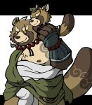 2018 anthro belly brown_fur canine clothed clothing duo fundoshi fur gyobu japanese_clothing leaf male mammal moobs nipples overweight overweight_male scar simple_background tanuki tokyo_afterschool_summoners underwear white_background
