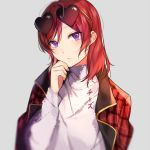 1girl artist_name bangs chi_zu_crazy eyebrows_visible_through_hair grey_background hair_between_eyes heart heart-shaped_eyewear looking_at_viewer love_live! love_live!_school_idol_project nishikino_maki purple_eyes red_hair short_hair simple_background solo sunglasses sweater swept_bangs upper_body white_sweater