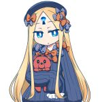1girl :o abigail_williams_(fate/grand_order) bangs black_bow black_dress black_hat blonde_hair blue_eyes blush bow bug butterfly commentary_request dress eyebrows_visible_through_hair fate/grand_order fate_(series) glowing hair_bow hat insect jitome long_hair long_sleeves looking_at_viewer nanatsume object_hug orange_bow parted_bangs parted_lips polka_dot polka_dot_bow simple_background sleeves_past_fingers sleeves_past_wrists solo stuffed_animal stuffed_toy teddy_bear upper_body very_long_hair white_background