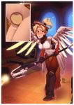 1girl artist_name black_footwear bladder blonde_hair blue_eyes blush boots border breasts couch embarrassed female flying_sweatdrops full_body hair_tie halo have_to_pee high_ponytail holding holding_staff indoors knee_boots leaning_forward leggings looking_to_the_side mechanical_wings medium_breasts mercy_(overwatch) multiple_views nose_blush overwatch phinci ponytail pubic_hair shiny shiny_hair signature staff standing tied_hair trembling urine_meter white_border wings x-ray