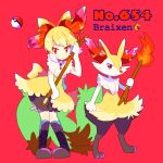 1girl black_footwear bloomers bow braixen character_name dress fire full_body furry gen_6_pokemon hair_bow holding holding_stick holding_torch jewelry looking_at_viewer mameeekueya moemon necklace personification poke_ball pokemon pokemon_(creature) red_background red_eyes simple_background smile stick tail torch underwear yellow_dress