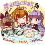 3girls artist_request black_bikini_top black_dress blue_eyes brown_hair cake chibi company_name cup dress eating food food_on_face fork gambanteinn gungnir_(phantom_of_the_kill) hair_ribbon happy_birthday headband heart highres lavender_hair long_hair long_sleeves mole mole_under_eye multicolored_hair multiple_girls official_art orange_hair othinus_(phantom_of_the_kill) phantom_of_the_kill ponytail ribbon scarf short_hair sleeping slice_of_cake table teacup teapot two-tone_hair zzz
