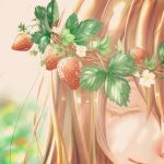 1girl blurry blurry_background close-up eyelashes eyes_closed face flower food fruit gradient gradient_background happy head_wreath highres leaf light_brown_hair light_smile long_hair multicolored multicolored_background original painttool_sai smile solo_focus strawberry sunlight white_flower