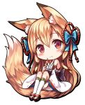 1girl :t animal_ears black_footwear blue_bow blush bow chibi closed_mouth commentary_request detached_sleeves eating food fox_ears fox_girl fox_tail full_body hair_bow holding holding_food japanese_clothes kimono kneehighs light_brown_hair long_hair long_sleeves original red_eyes ribbon-trimmed_legwear ribbon-trimmed_sleeves ribbon_trim sakura_ani short_kimono simple_background sitting sleeveless sleeveless_kimono solo tail very_long_hair white_background white_kimono white_legwear wide_sleeves zouri