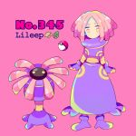 1girl blue_eyes character_name dress full_body gen_3_pokemon lileep looking_at_viewer mameeekueya medium_hair moemon multicolored multicolored_eyes no_mouth personification pink pink_background pink_hair poke_ball pokemon pokemon_(creature) purple_dress purple_footwear red_eyes simple_background standing yellow_eyes