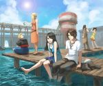 5girls 6+boys barefoot black_hair blonde_hair blue_sky blurry boat brown_hair casual cloud depth_of_field dress ellone everyone final_fantasy final_fantasy_viii fishing fishing_rod fuujin_(ff8) habbitrot highres irvine_kinneas jacket jacket_removed jewelry laguna_loire lens_flare multicolored_hair multiple_boys multiple_girls necklace pier quistis_trepe raijin_(ff8) rinoa_heartilly seifer_almasy selphie_tilmitt shorts shorts_under_skirt skirt sky sleeveless smile soaking_feet squall_leonhart sun sundress two-tone_hair water water_tower watercraft zell_dincht