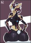 big_butt butt female hand_on_butt hot_dogging humanoid khora_(warframe) looking_back penis pitsofchaos video_games warframe