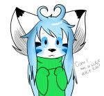 :3 alpha_channel ambiguous_gender anthro aqua_hair blue_blush chibi clothed clothing cute feline fur mammal markings nicholas_c._corbin roariis simple_background solo transparent_background turtleneck white_fur youtuber