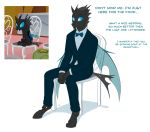 2018 anthro anthrofied bow_tie catnamedfish chair changeling clothed clothing english_text fangs feral friendship_is_magic hi_res hole_(anatomy) horn insect_wings male my_little_pony scene_interpretation simple_background sitting text white_background wings