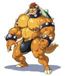 analon_(artist) anthro biceps big_bulge bowser bulge claws clothing collar facial_piercing grin hair huge_muscles male mario_bros muscular muscular_male nintendo nose_piercing nose_ring orange_skin pecs penis piercing red_hair showing_teeth simple_background smile solo standing underwear vein veiny_penis video_games white_background