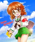 1girl :d armband bag bangs black-framed_eyewear blouse book brown_eyes brown_hair burafu carrying cloud cloudy_sky commentary_request cowboy_shot day english girls_und_panzer glasses green_skirt happy_birthday holding leaning_forward lens_flare long_sleeves looking_at_viewer miniskirt ooarai_school_uniform open_mouth ou_taiga outdoors pen pleated_skirt school_bag school_uniform semi-rimless_eyewear serafuku short_hair skirt sky smile solo standing twintails under-rim_eyewear