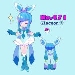 1girl bangs blue_background blue_eyes blue_gloves character_name earrings english full_body gen_4_pokemon glaceon gloves jewelry long_hair looking_at_viewer mameeekueya moemon one_eye_closed personification poke_ball pokemon pokemon_(creature) shoes simple_background sleeveless smile sparkle