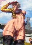 0_0 1boy baseball_cap blonde_hair blood blue_sky blush breasts cidney_aurum cloud dirty final_fantasy final_fantasy_xv hat hat_tip hetero highres hips jacket large_breasts navel nipples nosebleed o_o panties panty_pull prompto_argentum pubic_hair pussy skindentation sky ultamisia underwear wide_hips