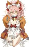 1girl animal_ears apron bangs bare_shoulders bell bell_collar between_fingers blush bow breasts cat_hair_ornament cat_paws cleavage closed_mouth collar collarbone fate/extra fate/grand_order fate_(series) fish fox_ears fox_tail frills gloves hair_between_eyes hair_bow hair_ornament highres hips jingle_bell kneeling large_breasts long_hair looking_at_viewer maid_headdress mouth_hold naked_apron paw_gloves paw_print paw_shoes paws pink_hair red_bow shoes sidelocks simple_background smile solo sparkle tail tamamo_(fate)_(all) tamamo_cat_(fate) thighs white_background yuuko_(030_yuko)
