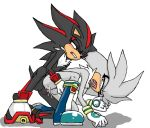2010 anal anthro balls clothing cum footwear gloves kyoshinhei male male/male penis red_eyes shadow_the_hedgehog shoes silver_the_hedgehog simple_background sonic_(series) white_background yellow_eyes