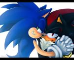2007 anthro blush clothing gloves green_eyes kycha male male/male red_eyes shadow_the_hedgehog simple_background sonic_(series) sonic_the_hedgehog white_background
