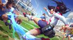 1girl 3boys alistar alternate_form animal ball beard black_hair blitzcrank blue_shirt blue_shorts breasts building cloud cow facial_hair grass hat highres judge league_of_legends long_hair medium_breasts multiple_boys official_art open_mouth outdoors playing_games playing_sports red_footwear robot shirt short_hair shorts sky soccer soccer_ball soccer_uniform sport sportswear twisted_fate white_hair white_shirt world_cup