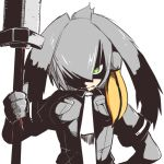 1girl 370ml bangs bird_wings black_gloves black_hair breast_pocket closed_mouth collared_shirt fingerless_gloves gloves green_eyes grey_hair grey_neckwear grey_shirt hair_over_one_eye hand_on_hip hand_up high_contrast holding holding_spear holding_weapon kemono_friends long_hair long_sleeves looking_at_viewer low_ponytail multicolored_hair necktie orange_hair pocket polearm serious shaded_face shirt shoebill_(kemono_friends) short_over_long_sleeves short_sleeves side_ponytail simple_background solo spear upper_body weapon wings
