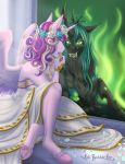 2018 anthro anthrofied catnamedfish changeling clothing dress equine eyelashes feathered_wings feathers female friendship_is_magic green_eyes hair hi_res holding_object hole_(anatomy) hooves horn lipstick long_hair makeup mammal my_little_pony petals princess_cadance_(mlp) queen_chrysalis_(mlp) slit_pupils underhoof winged_unicorn wings