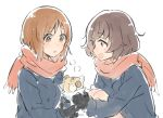 2girls akiyama_yukari black_gloves blush boko_(girls_und_panzer) brown_eyes brown_hair girls_und_panzer gloves holding holding_stuffed_animal long_sleeves looking_at_another monsieur multiple_girls nishizumi_miho open_mouth red_scarf scarf short_hair stuffed_animal stuffed_toy teddy_bear upper_body white_background