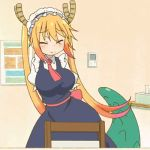 1girl animated animated_gif breasts dragon_girl dragon_tail gradient_hair horns kobayashi-san_chi_no_maidragon large_breasts maid_uniform multicolored_hair tail tooru_(maidragon) twintails