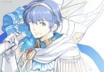 1boy blue_eyes blue_flower blue_hair cape crest fire_emblem fire_emblem:_monshou_no_nazo fire_emblem_heroes flower formal gloves groom looking_at_viewer marth short_hair smile solo tiara toyo_sao tuxedo weapon white_gloves