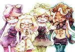 +_+ 4girls :d ;) aori_(splatoon) black_dress black_gloves black_hair black_shorts blue_hair blue_legwear character_name cowboy_shot dark_skin detached_collar domino_mask dress earrings eyes_closed fingerless_gloves gloves gradient_hair green_legwear hand_on_another's_shoulder hand_on_hip headphones hime_(splatoon) hotaru_(splatoon) iida_(splatoon) jewelry jumpsuit long_hair mask mole mole_under_eye mole_under_mouth multicolored_hair multiple_girls navel_piercing octarian one_eye_closed open_mouth pantyhose pantyhose_under_shorts piercing pink_hair pink_legwear pointy_ears purple_hair purple_legwear rrrpct short_hair short_jumpsuit shorts smile splatoon splatoon_1 splatoon_2 strapless strapless_dress symbol-shaped_pupils tentacle_hair two-tone_hair white_dress white_gloves white_hair yellow_eyes zipper zipper_pull_tab