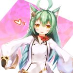 1girl :3 :d ahoge akashi_(azur_lane) animal_ears azur_lane bangs bell black_sailor_collar blush bow braid brown_eyes cat_ears commentary_request dress eyebrows_visible_through_hair green_hair hair_between_eyes hair_ornament heart jingle_bell long_hair long_sleeves looking_at_viewer matamataro mole mole_under_eye open_mouth outstretched_arms red_bow sailor_collar sailor_dress sleeves_past_fingers sleeves_past_wrists smile solo very_long_hair white_dress