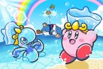 beach beanie blush_stickers cloud commentary_request copy_ability driblee fatty_whale hat headphones innertube kirby kirby:_star_allies kirby_(series) lens_flare ocean official_art rainbow smile swimming waddle_dee