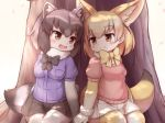 2girls :d animal_ears black_gloves black_hair black_neckwear black_skirt blonde_hair blush bow bowtie breast_pocket brown_eyes buttons cherry_blossoms common_raccoon_(kemono_friends) extra_ears eye_contact eyebrows_visible_through_hair fang fennec_(kemono_friends) fox_ears fox_tail fur_collar fur_trim gloves grey_hair hands_together kemono_friends looking_at_another matsuu_(akiomoi) miniskirt multicolored multicolored_clothes multicolored_hair multicolored_legwear multiple_girls open_mouth petals pink_sweater pleated_skirt pocket raccoon_ears raccoon_tail short_sleeves sitting skirt smile sweater tail thighhighs tree white_gloves white_legwear white_skirt yellow_legwear yellow_neckwear