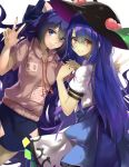 2girls back_bow blue_eyes blue_hair bow debt double_v food fruit hat hinanawi_tenshi hood hoodie long_hair multiple_girls peach piyodesu red_eyes skirt smile touhou v very_long_hair yorigami_shion