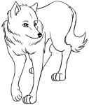 ambiguous_gender black_and_white canine feral mammal metalpandora monochrome simple_background solo white_background wolf